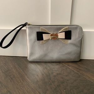 Betsey Johnson metallic silver w/ bow clutch